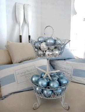 blue ornaments and a sea shell in a wire basket