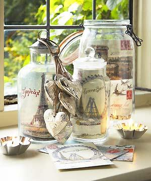 Christmas cards displayed in glass jars