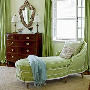 Seafoam green chaise lounge