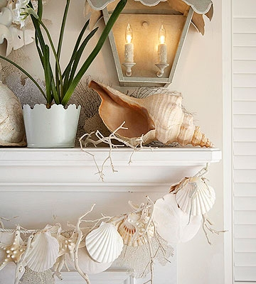 Sea Shell Garland hanging from mantle