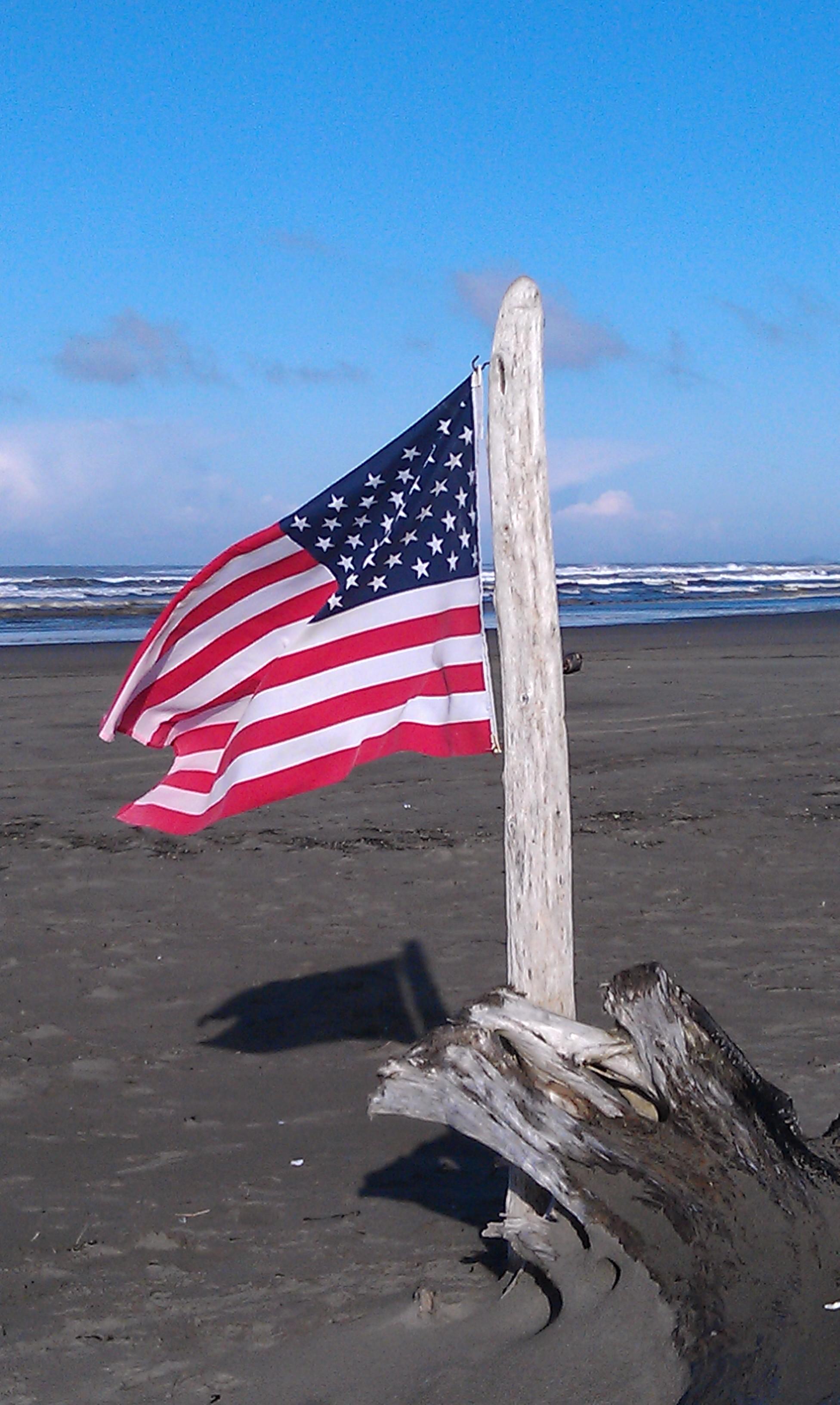 american flag driftwood on beach