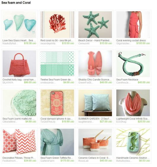 sea foam and coral Etsy treasury
