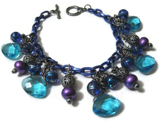 Blue and Purple Glass Beaded Bracelet