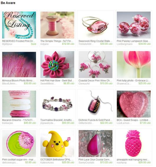 Etsy Treasury Be Aware